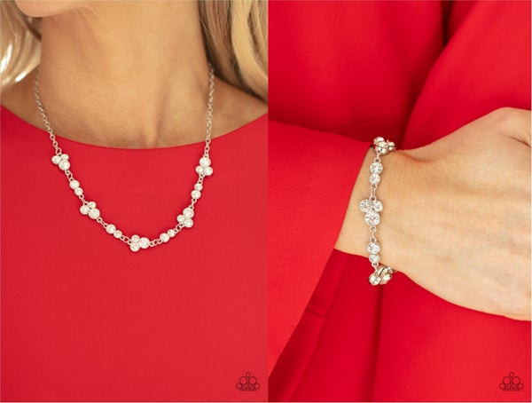 Pre-Sale Gorgeously Glistening & Social Glistening - Silver with White Rhinestones Necklace, Earrings & Bracelet Set