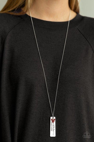 Because Of The Brave - Silver with engraved Dog Tag & Red Beads Necklace with Earrings