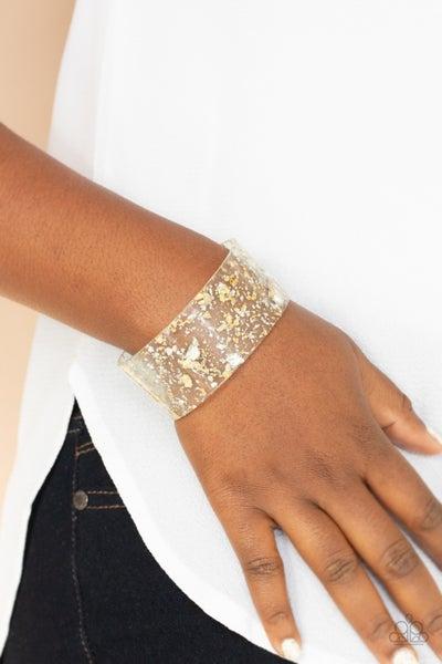 Pre-Sale Snap, Crackle, Pop! - Gold & Silver shavings encased in an Acrylic Cuff Bracelet