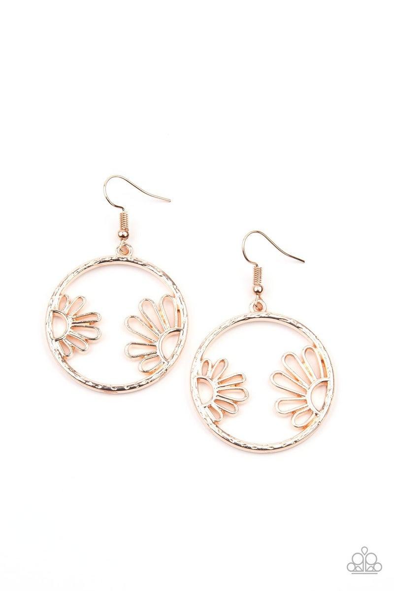 Demurely Daisy - Rose Gold Daisy framed Hoop Earrings