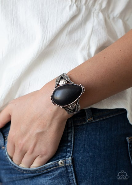 Blooming Oasis - Silver with large Teardrop Black Stone Cuff Bracelet