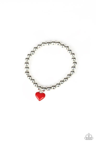 Silver Beads with a colorful Heart Charm Stretchy Bracelet