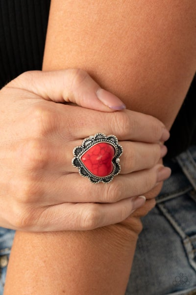 Pre-Sale - Desert Desire - Silver with Heart-Shaped Red Crackle Stone Ring