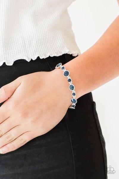 Starstruck Sparkle - Silver with Round Blue Rhinestones Bracelet