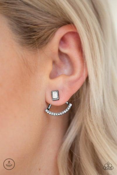 Delicate Arches - Gunmetal with Rhinestones Jacket (peek-a-boo) Earrings