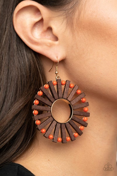 Pre-Sale - Solar Flare - Wood with Amberglow Beads Hoop Earrings