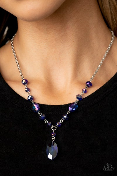 Fashionista Week - Iridescent Blue on a Silver chain Necklace & Earrings