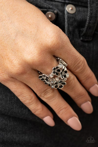 Pre-Sale - Blooming Banquet - Silver with Black Flowers & Glassy White Rhinestones Ring