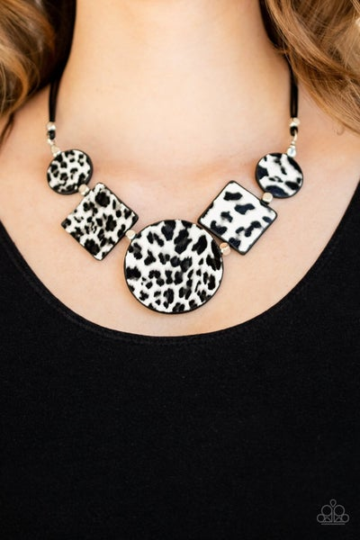 Here Kitty Kitty - White with Cheetah Print Leather Necklace