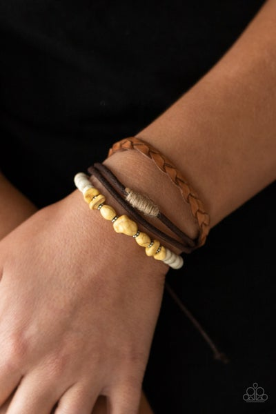 Far Out Wayfair - Leather & Cordage strands with Yellow Stones slip knot/pull-tight Bracelet