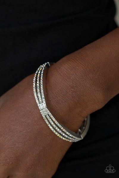 Suburban Scene - Silver with Multi Iridescent  Stretch Bracelet