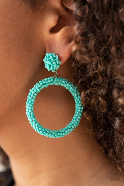 Be All You Can BEAD -Turquoise Seed Bead Hoop Earrings