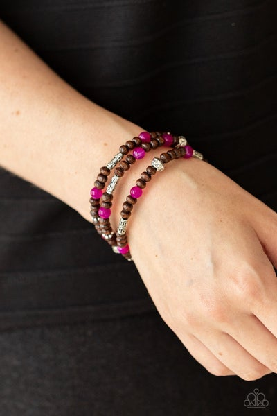 Woodsy Walkabout - Pink Stone accents with Brown Wooden & Silver Beads Bracelet