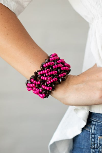 Pre-Sale - Cozy in Cozumel - Brown & Pink Wooden Stretchy Bracelet