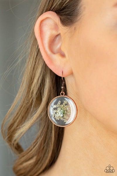 Happily Ever Eden - Copper with white firework flower encased Earrings