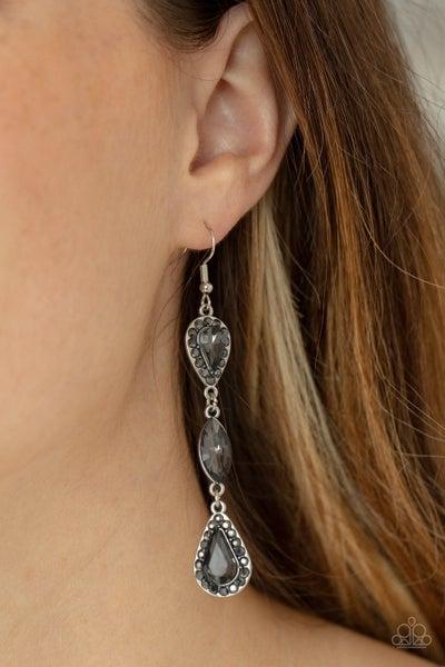 Test of TIMELESS - Silver teardrop & marquis cut smoky gems Dangle Earrings
