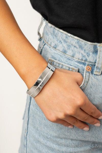 Raw Razzle - Silver with White Rhinestones Cuff Bracelet