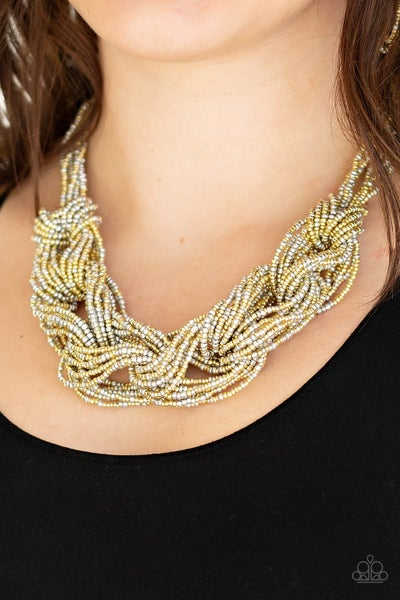City Catwalk - Braided Gold Seed Bead Necklace & Earrings