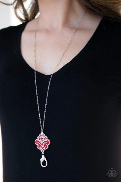 Malibu Mandala Lanyard - Silver with Red Filligree Pendant Lanyard Necklace