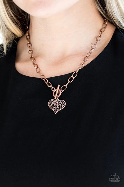 Heart Touching Harmony - Copper Toggle Lock Heart Necklace & Earrings