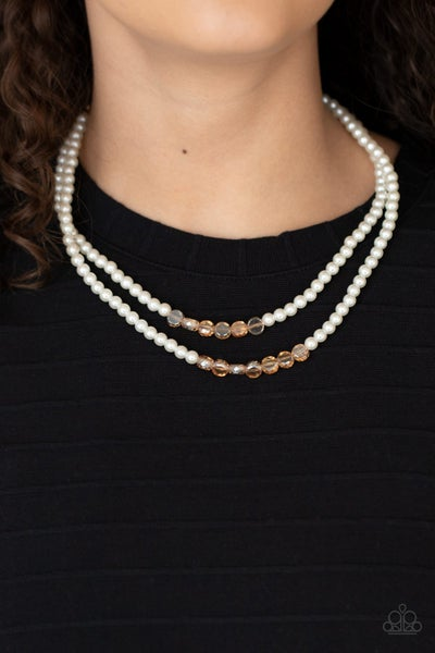 Pre-Order Poshly Petite - Gold faceted gold beads with layered White Pearls Necklace & Earrings