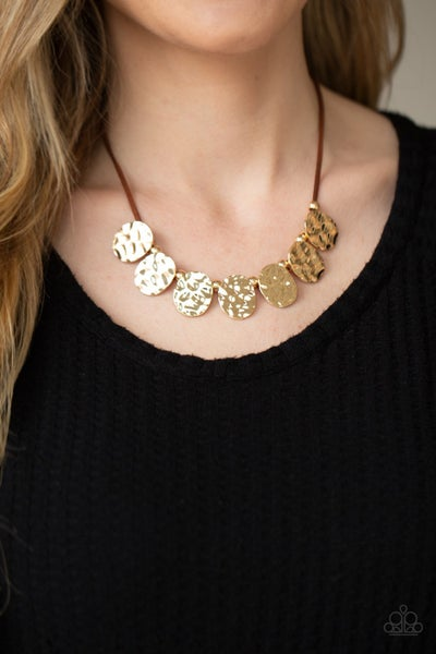 Pre-Order Turn Me Loose - Brown Leather with Hammered Gold Necklace & Earrings