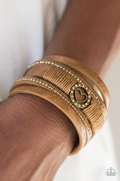 It Takes Heart - Metallic Brass Leather with Rhinestones with a Center Heart Bracelet