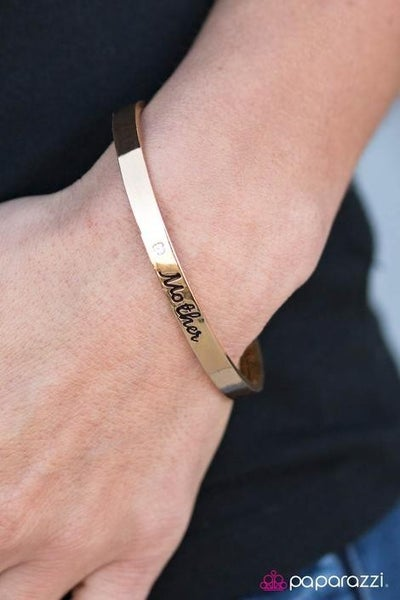 Every Day Is Mothers Day - A rhinestone and the word Mother stamped on a Gold Bracelet
