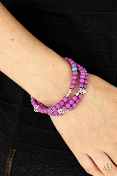 Pre-Order Desert Decorum - Purple & Turquoise stone Beads with Silver accents Bracelet
