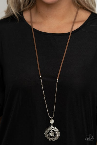 Where No MANDALA Has Gone Before - Brown Suede with Silver & White Moonstone Necklace & Earrings