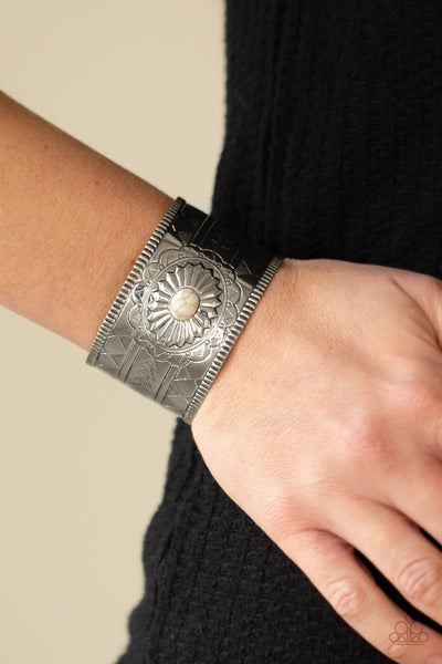 Aztec Artisan - Silver tribal embossed with White center Stone Cuff Bracelet