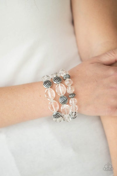 Crystal Charisma - Silver with White Crystal Stretch Bracelets