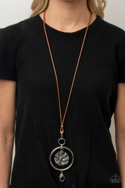 CORD-inated Effort - Brown Leather with a Hoop encasing s hammered Silver Disc Lanyard Necklace & Earrings