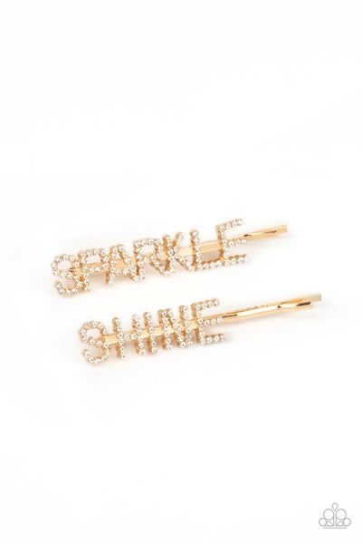 Pre-Order Center of the SPARKLE-verse - Gold with white Rhinestones Bobby Pins
