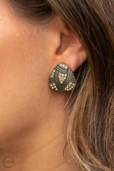 Gorgeously Galleria - Brass with golden topaz rhinestones Clip-On Earrings