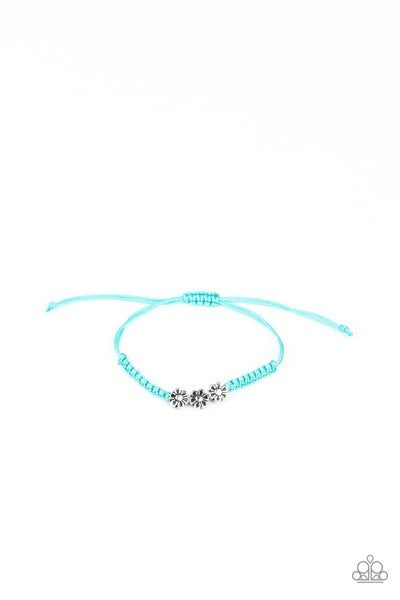 Silver Floral Charms on Colorful Pull-Tight Kid's Bracelets