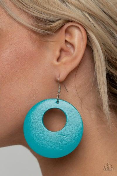 Island Hop - Blue Wooden Hoop Earrings