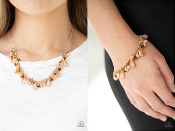 Courageously Catwalk & Catwalk Crawl - Gold Necklace, Earrings & Bracelet Set
