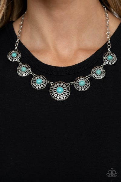 Sahara Solar Power - Silver with Turquoise Necklace & Earrings