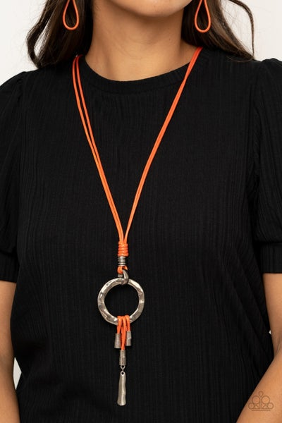 Pre-Sale Tranquil Artisan - Orange Leather Tassels with a Silver Loop Necklace & Earrings