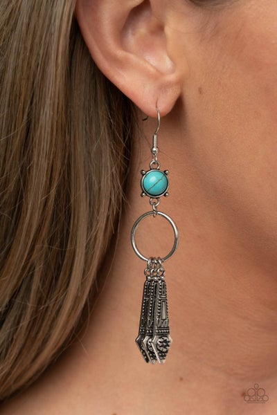 Pre-Sale Prana Paradise - Silver Tassels from a Turquoise stone Earrings