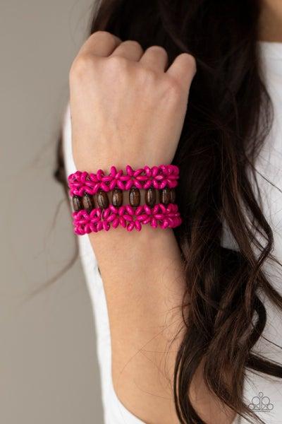 Pre-Sale Bali Beach Retreat - Brown with Pink Wood Stretch Bracelet
