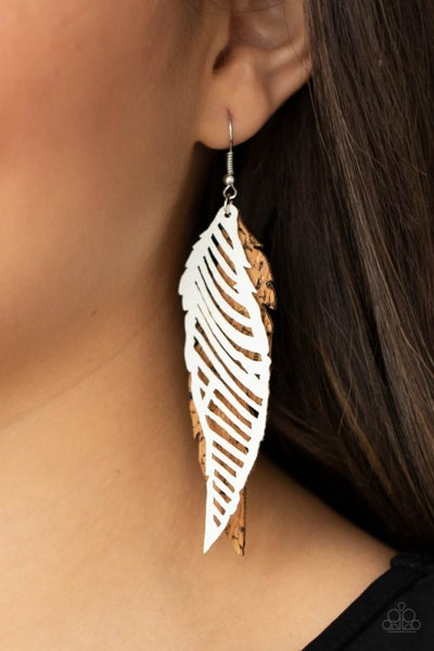 WINGING Off The Hook - White Leather and Cork Feather Earrings