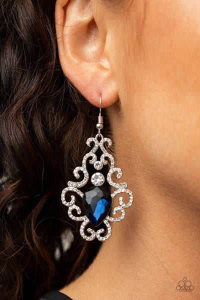 Happily Ever AFTERGLOW - Blue & White Rhinestone Earrings