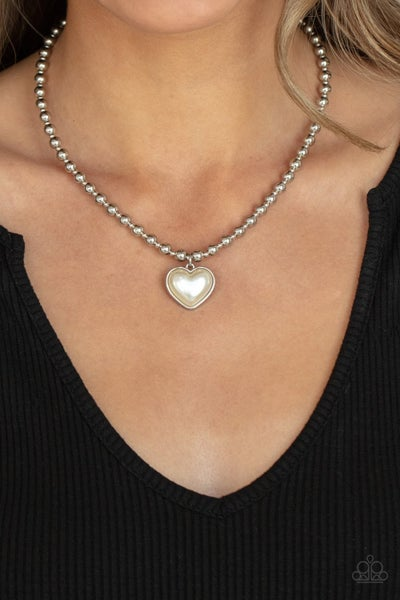 Heart Full of Fancy -Silver with a Pearly White Heart Charm Necklace & Earrings
