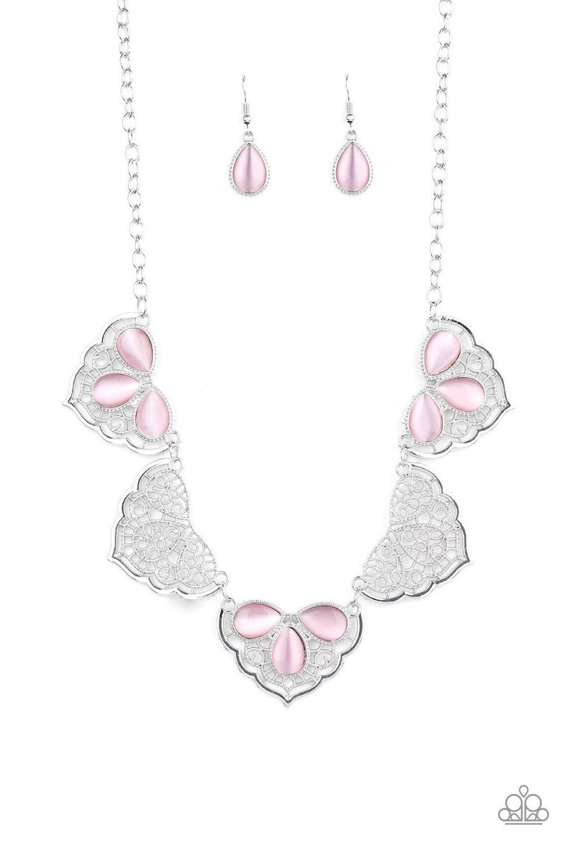 East Coast Essence - Lacy Filigree Silver with Pink Teardrop Moonstones Necklace
