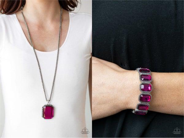 Let your HEIR Down & Studded Smolder - Pink Emerald-Cut Rhinestones, Necklace, Earrings & Bracelet - 2 Piece Set