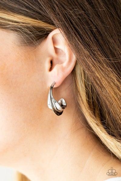 Modern Meltdown - Silver Modern Hoop Earrings