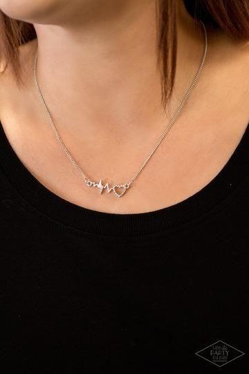 HEARTBEAT Street - Silver Heartbeat Line with Rhinestone encrusted Heart Necklace & Earrings