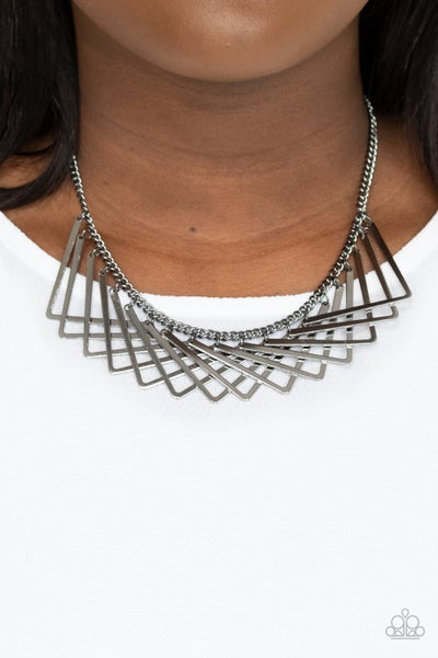 Metro Mirage - Gunmetal V-shape frames Necklace & Earrings
